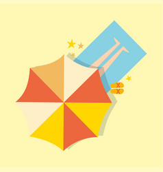 beach top view with umbrella bright towel holiday vector image