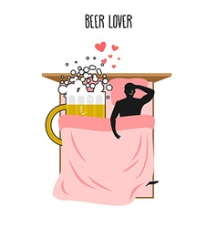 Beer lover beer mug and man lovers in bed top view vector