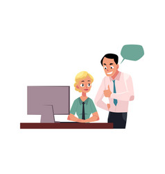 Boss managing female employee showing approval vector