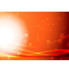 Bright orange networking light wave background vector image vector image