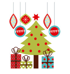 christmas tree gifts balls hanging decoration vector image
