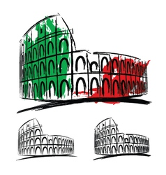 Coliseum on white background vector image vector image