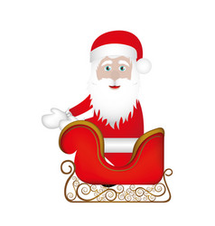 Colorful silhouette of santa claus in sleigh vector