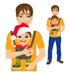 father holding little boy with baby carrier vector image vector image