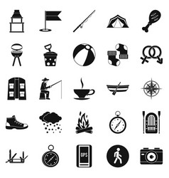 father icons set simple style vector image