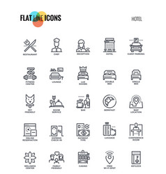 Flat line icons design-hotel vector