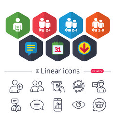 Gamer icons board games players vector