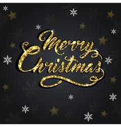 Golden glitter christmas greeting inscription vector