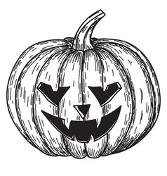 halloween pumpkin with evil scary smile in funny vector image vector image