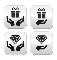 Hands with present and diamond buttons set vector image vector image