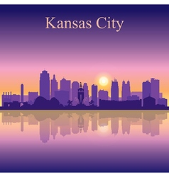 Kansas City silhouette on sunset background vector image