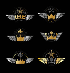 Majestic crowns and ancient stars emblems set vector
