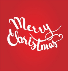 Merry christmas lettering on red background vector
