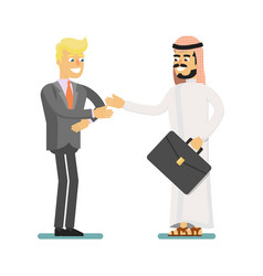Muslim businessman hold business meeting vector