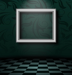 Picture frame in dark empty interior vector image vector image