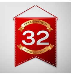 Red pennant with inscription thirty two years vector