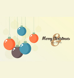Retro decorative christmas balls christmas card vector