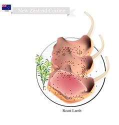 Roasted lamb rack the popular dish of new zealand vector