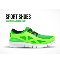 Running green shoes bright sport sneakers symbol vector