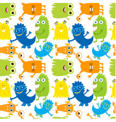 Seamless pattern with cute bright monsters vector