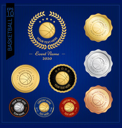 set of basketball badge label or emblem for sport vector image vector image