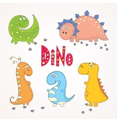 Set of cute dinosaurs vector image vector image