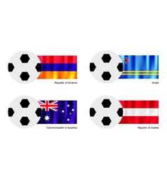 Soccer Ball with Armenia Aruba Australia flag vector image vector image