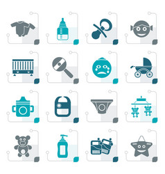 Stylized baby children and toys icons vector