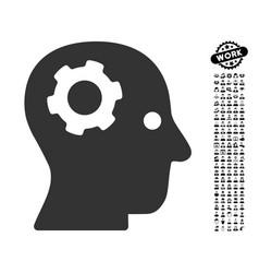 Thinking gear icon with job bonus vector