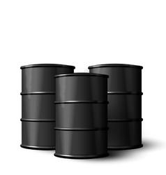 Three realistic black metal of oil barrels vector