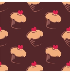 Tile pattern brown background with cupcakes vector image vector image