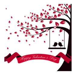 Valentine day with tree autumn and pink ribbon on vector