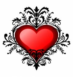 Valentine's day baroque heart vector image vector image