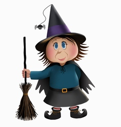 Witch and broomstick vector