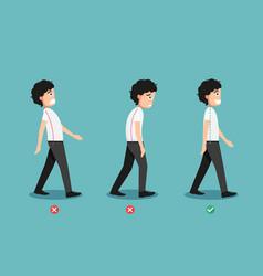 Wrong and correct walking posture vector