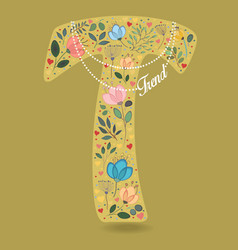 Yellow letter t with floral decor and necklace vector