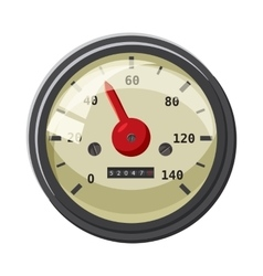 Speedometer with red arrow icon cartoon style vector