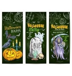 Halloween Party chalk sketch design on blackboard vector image
