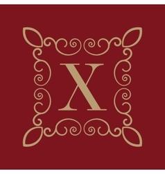 Monogram letter x calligraphic ornament gold vector
