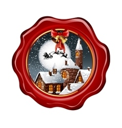 Christmas of wax seal with snowy town vector