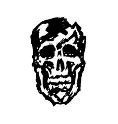 Crashed human skull vector