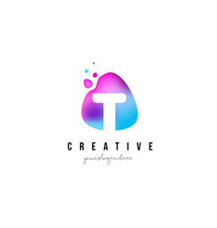 t letter dots logo design with oval shape vector image