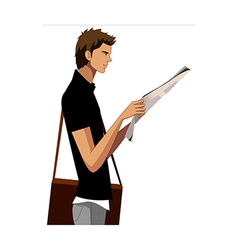 Side view of man holding newspaper vector