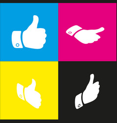Hand sign   white icon with vector