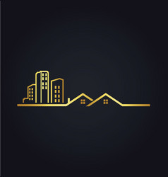 Home building line cityscape gold logo vector