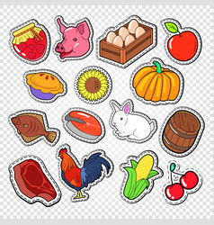 Agriculture doodle with bio food natural products vector