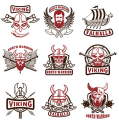 set of vintage viking labels viking warrior in vector image