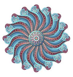 Beautiful deco colored contour mandala vector