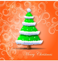 Christmas card Christmas tree vector image