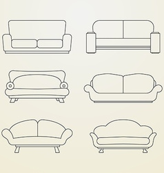 Icon set of sofas thin line style vector